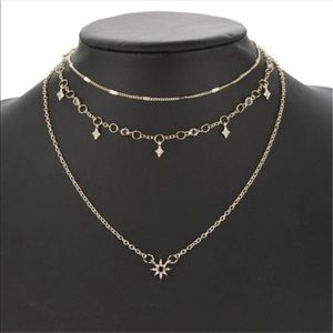 Jewelry - ⭐️*4 for $23 star and sun 3 layered gold necklace